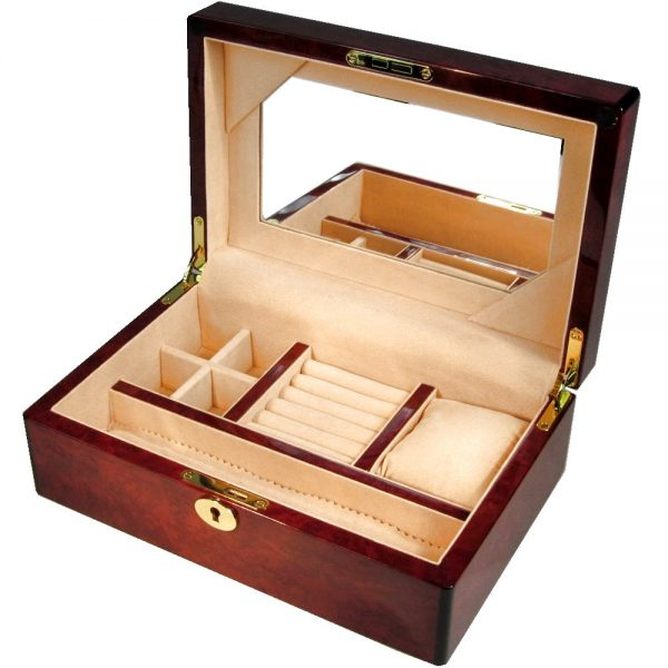Laminated Makah Burl Jewellery Box with Lock