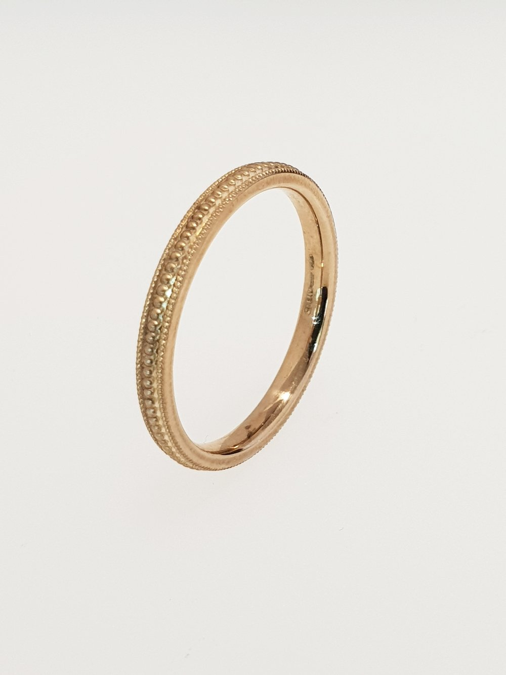 9ct Yellow Gold Beaded Detail Band