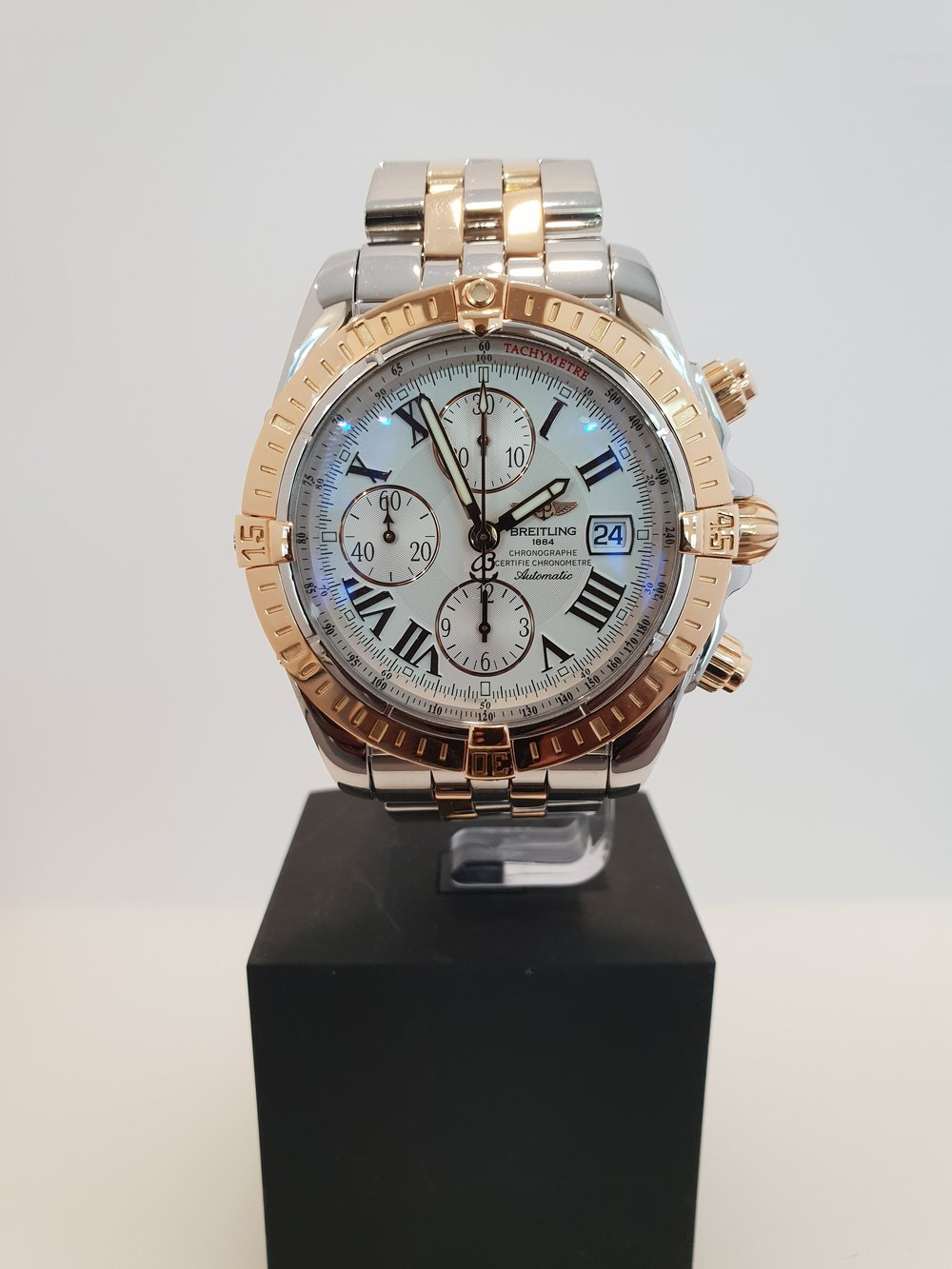 Breitling Evolution   Model Number: A17280  Bi Metal  Box & Papers, February 2007  Pre-Owned Price: £5200  Stock Code: Y855