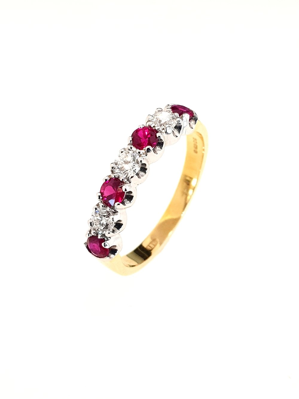 18ct Yellow Gold Ruby (.46ct) & Diamond Ring  Diamond: .26ct, G, Si1  Stock Code: N85136  £1375