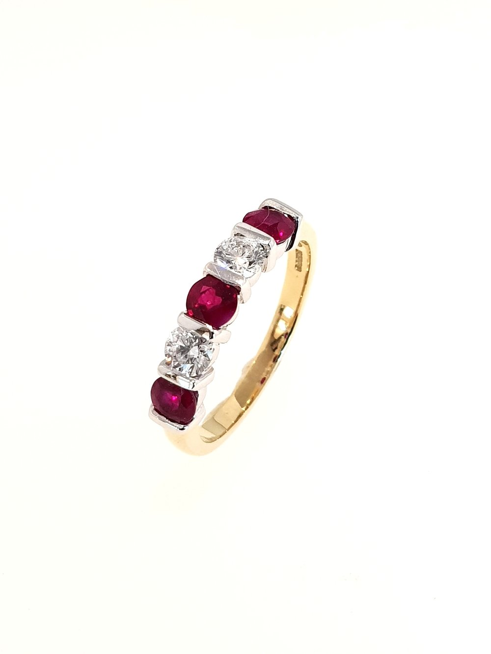 18ct Yellow Gold Ruby(.85ct) & Diamond Ring  Diamond: .41ct, G, Si1  Stock Code: N8980  £2100