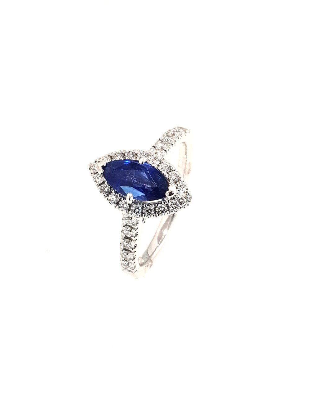 18ct White Gold Sapphire(1.08ct) & Diamond Ring  Diamond: .39ct, G, Si1  Stock Code: N8977  £2400