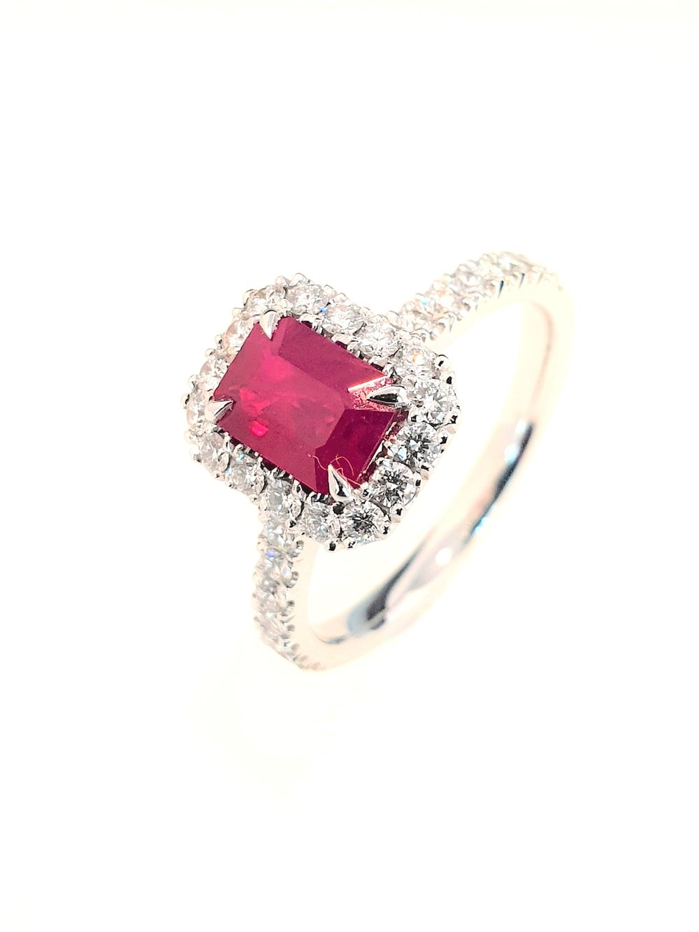 Platinum Ruby(1.04ct) & Diamond Ring  Diamond: .54ct, G, Si1  Stock Code: N8951  £5300