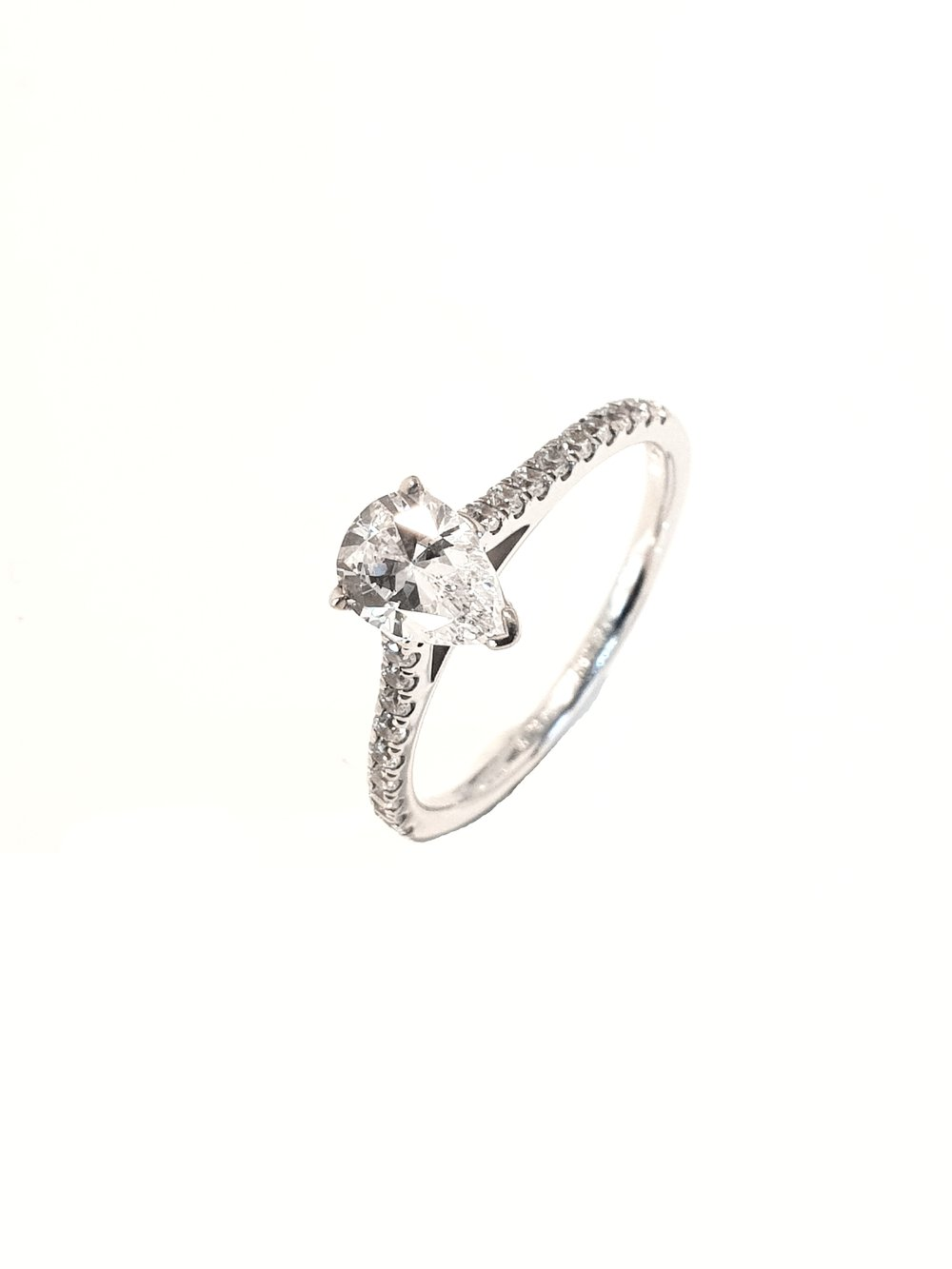 Raphael Collection, Pear 3 Claw Set Ring  .75ct, G, SI1 + .25ct shoulders.  Stock Code: Z1425  18ct White Gold: £2700  Platinum: £2820  Made To Order, approx 3 weeks.