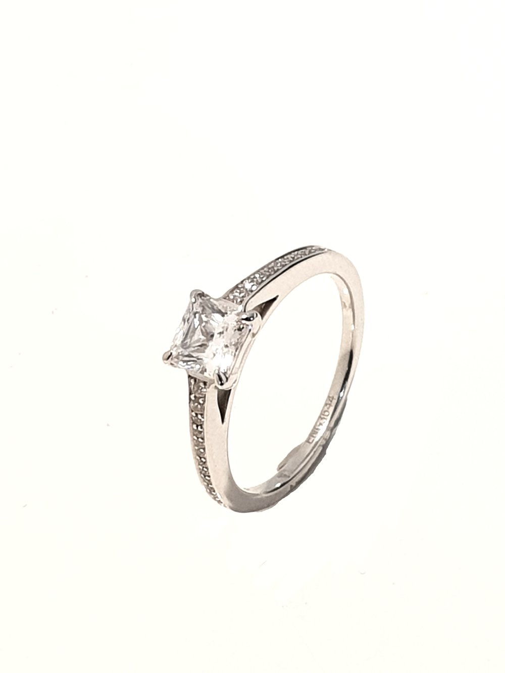 Raphael Collection, Princess 4 Claw Diamond Set Ring  .91ct, G, SI1 + .16ct shoulders  Stock Code: Z1418  18ct White Gold: £4650  Platinum: £4800  Made To Order, approx 3 weeks.