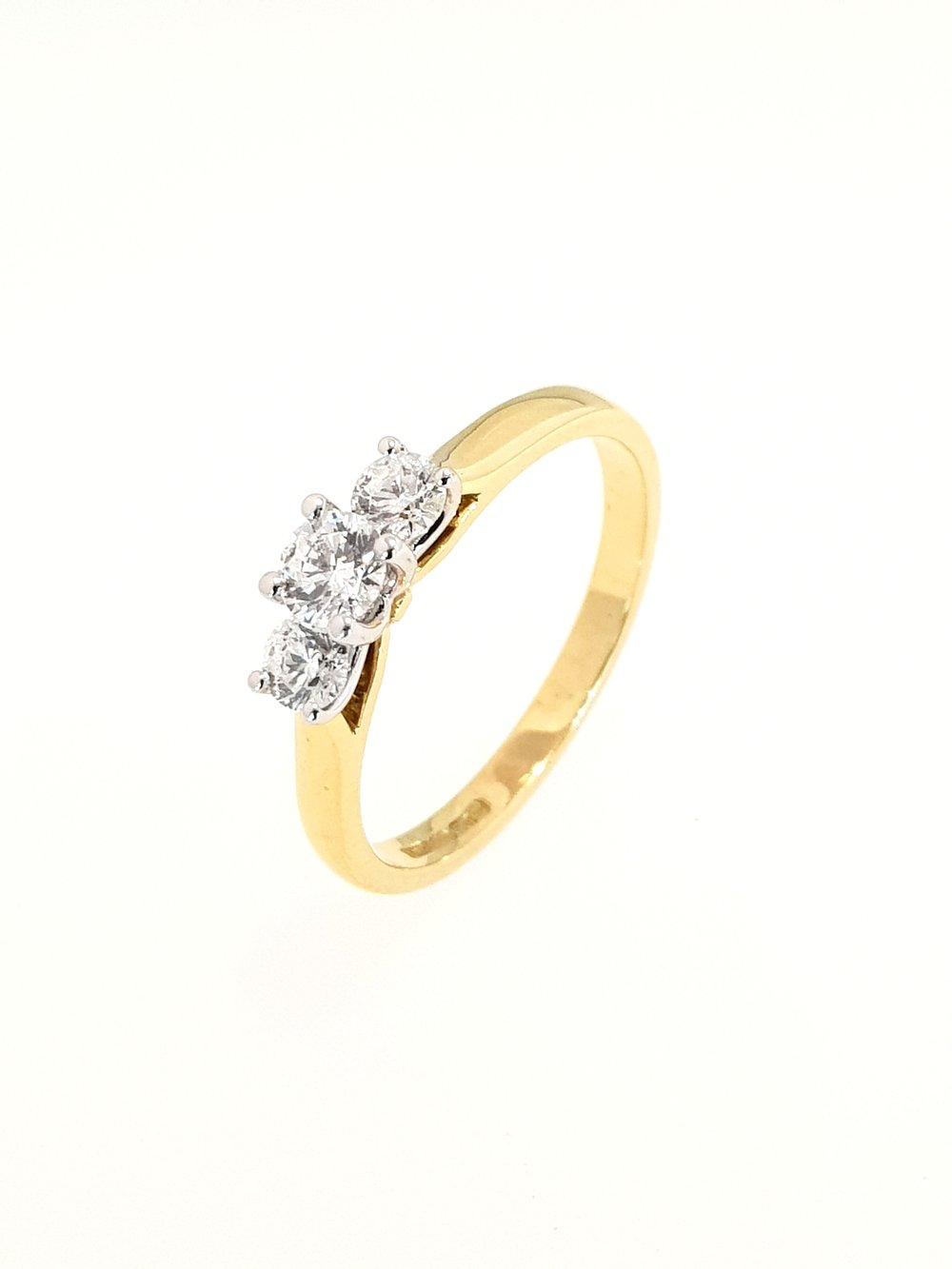 3 Stone Diamond Ring in Yellow Gold  .48ct, H, Si1  Stock Code: N8594  £1550
