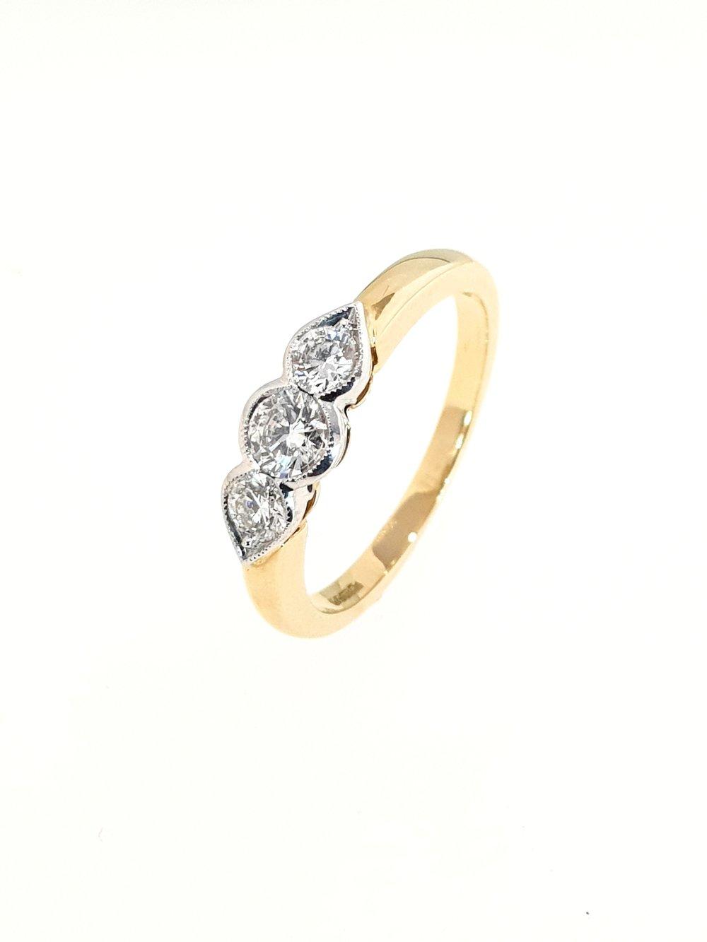 3 Stone Diamond Ring in Yellow Gold  .50ct, G, Si1  Stock Code: N8979  £1850