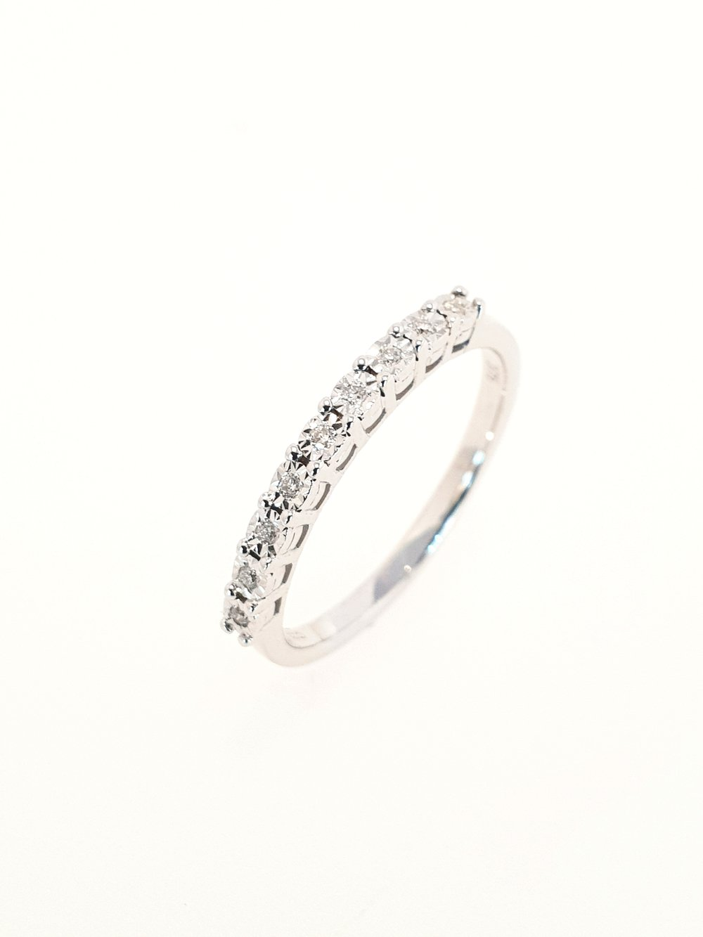 Eternity 9 Stone Diamond Ring, 9ct White Gold  .13 Total Carat Weight  Stock Code: G1956  £460