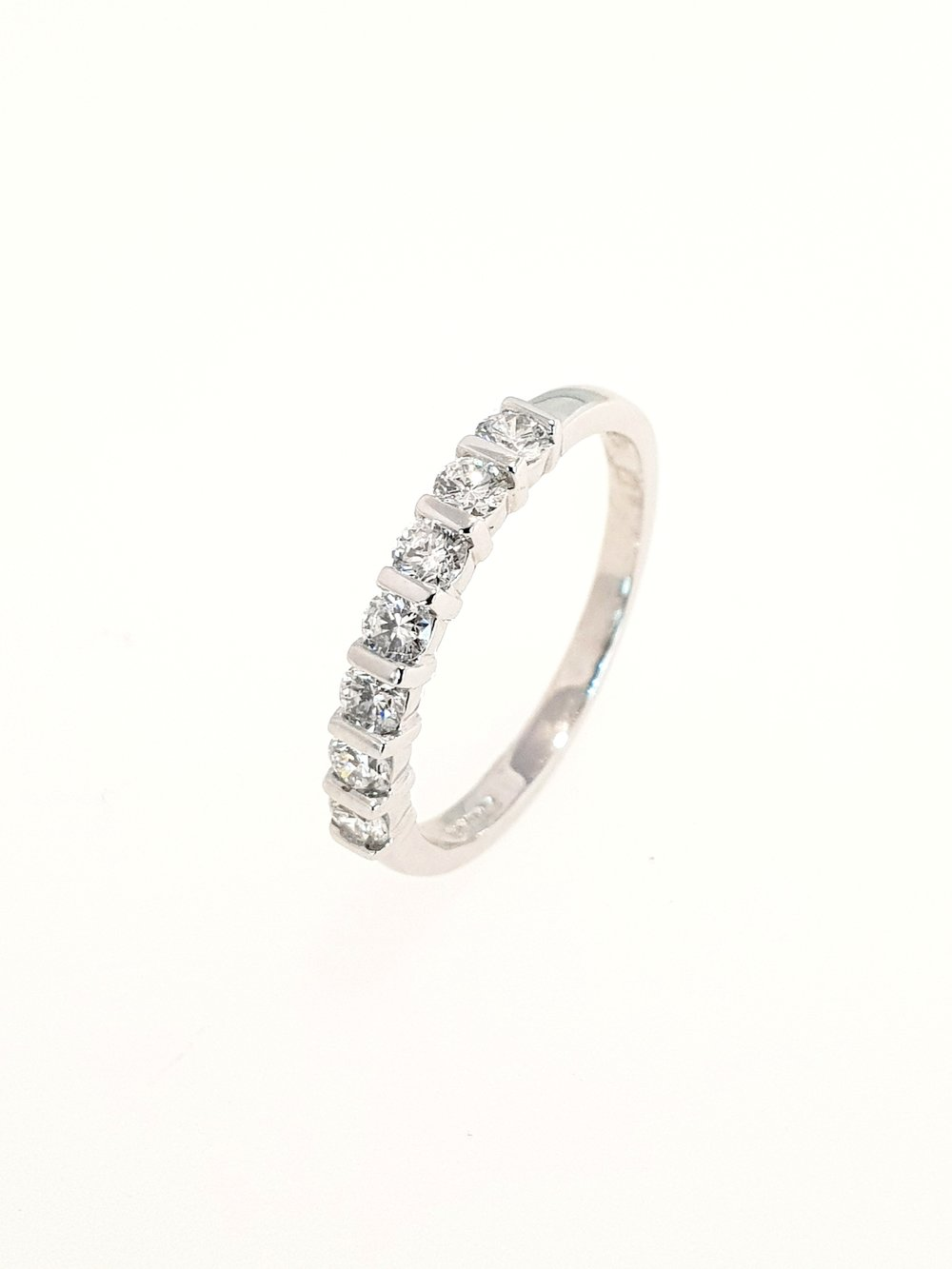 7 Stone Eternity Ring, Bar Set, 18ct White Gold  .49 Total Carat Weight  Stock Code: N8604  £1450
