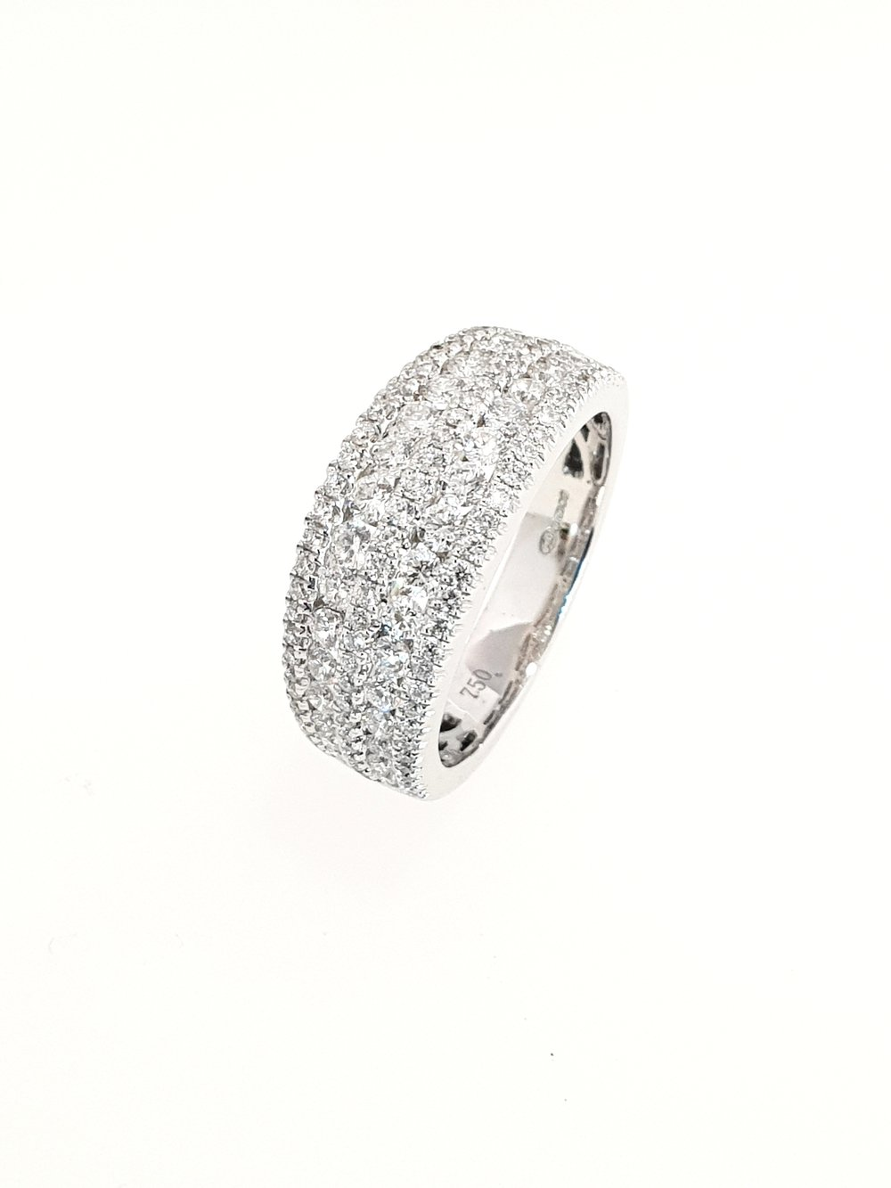 18ct White Gold 5 Row Diamond Ring  1.27ct, G, SI1  Stock Code: N8905  £4300