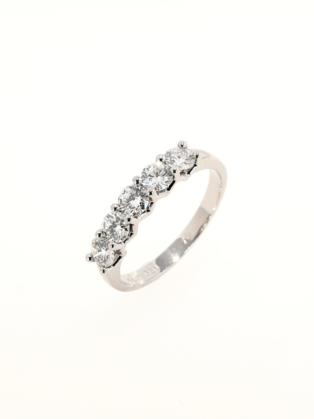 Platinum 5 Stone Eternity Ring  .75ct, H, SI1  Stock Code: N8935  £2500