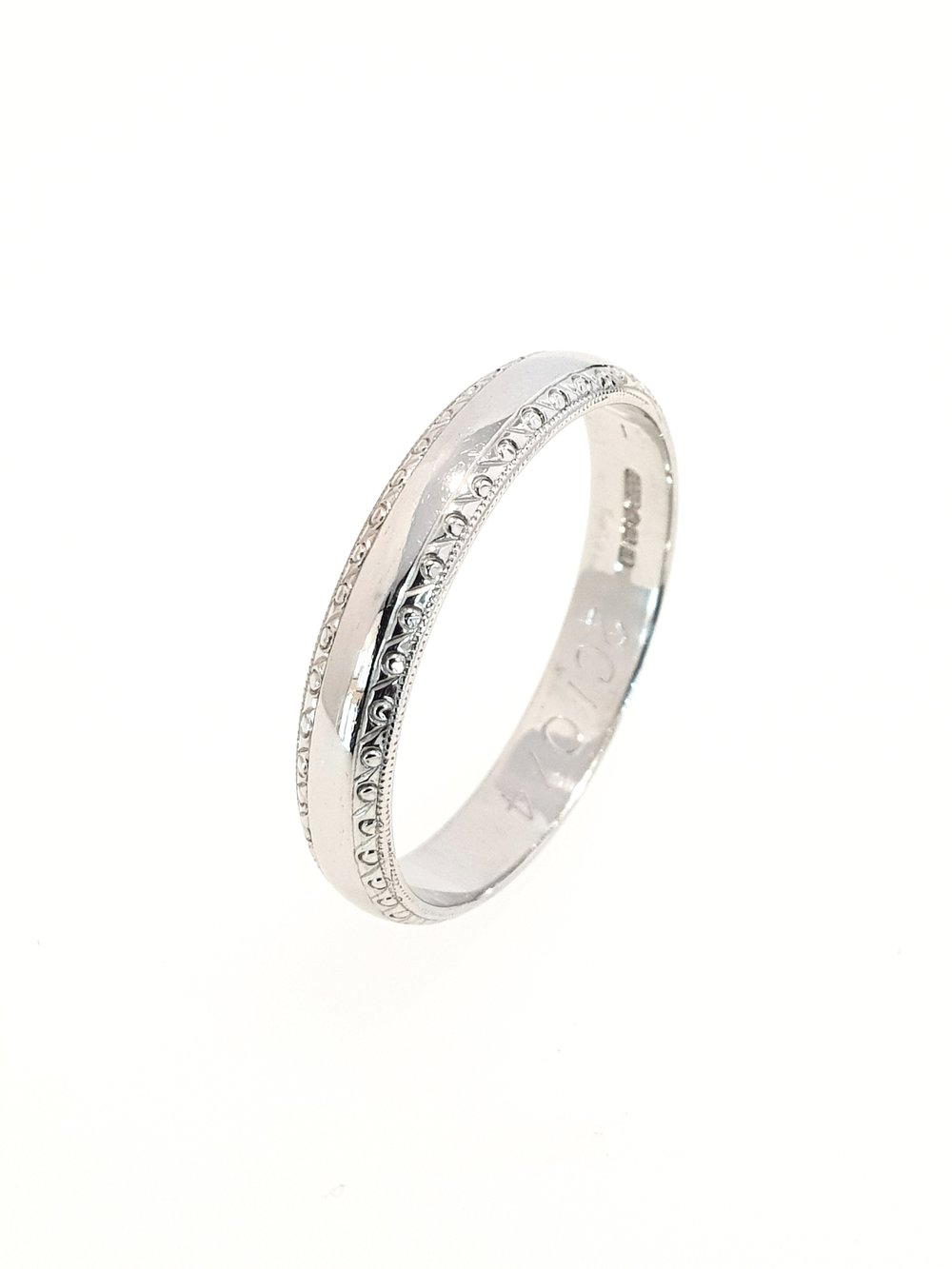 Platinum Band with Beaded Edge