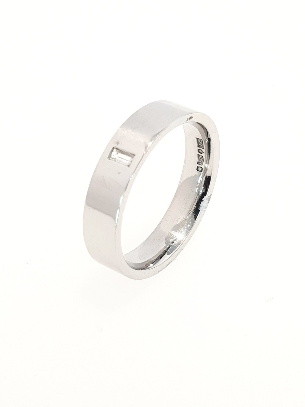 Platinum Band with Baguette Diamond