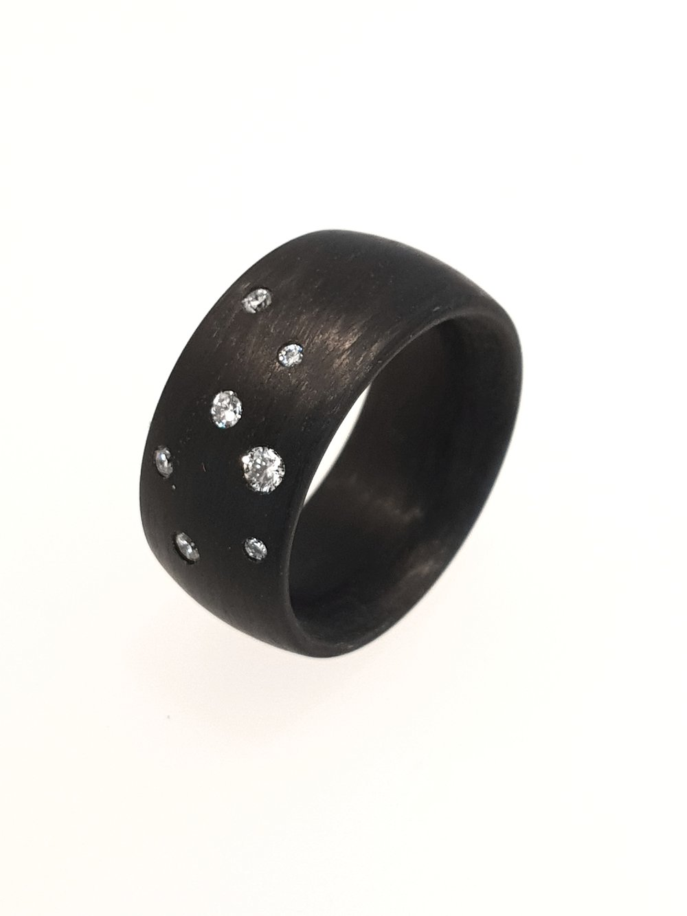 Carbon Fibre Ring with .17ct Diamonds    Titan Factory (Model: 59285/002/017/N000)   Current Stock Size: O  Stock Code: E9801  £680