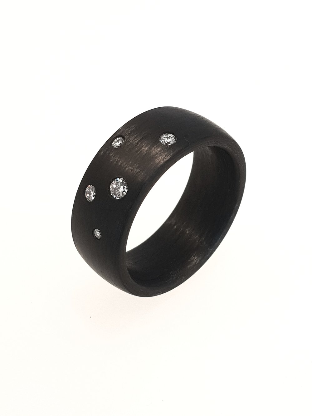 Carbon Fibre Ring & .14ct Diamonds, 8mm    Titan Factory (Model: 59284/002/014/N000)   Current Stock Size: N 1/2  Stock Code: E9802  £550