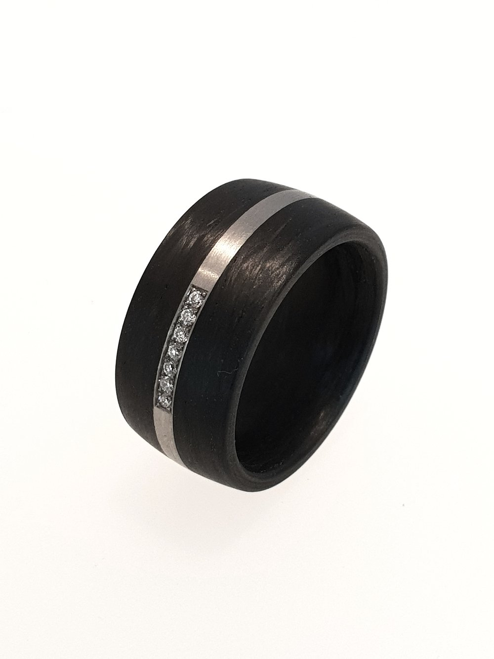 Carbon Fibre Ring with .05ct Diamonds, 10mm    Titan Factory (Model: 59316/003/005/N55)   Current Stock Size: M 1/2  Stock Code: E9806  £360