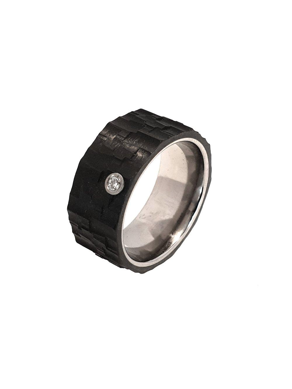 Carbon Fibre & Titanium Ring, .03ct Diamond, 9mm    Titan Factory (Model: 57054/001/003/2050)   Current Stock Size: N 1/2  Stock Code: E9803  £325