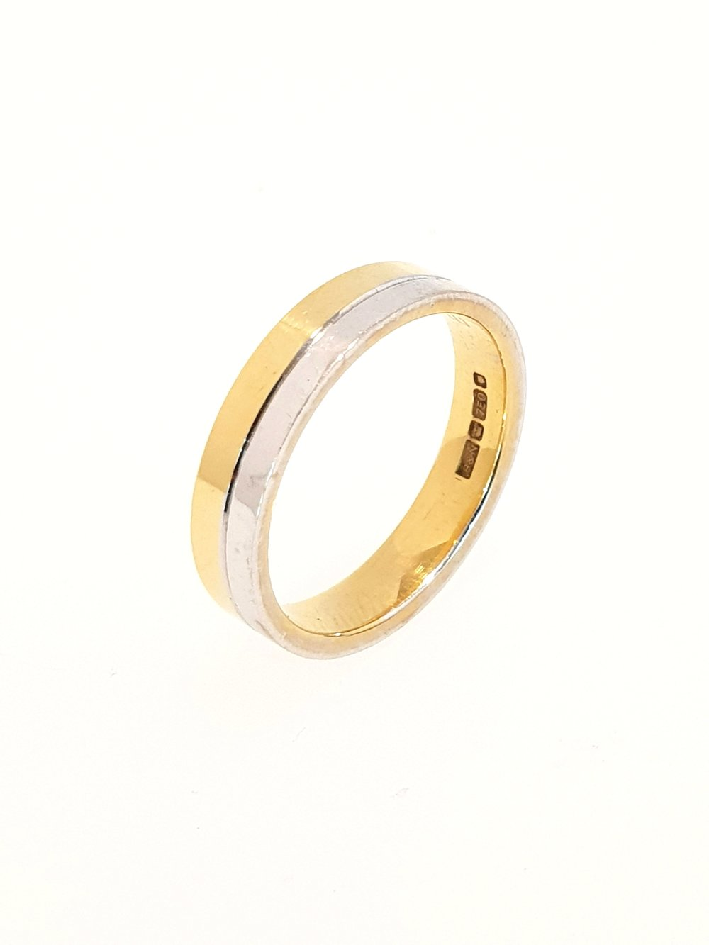 18ct Yellow & White Gold 4mm Band