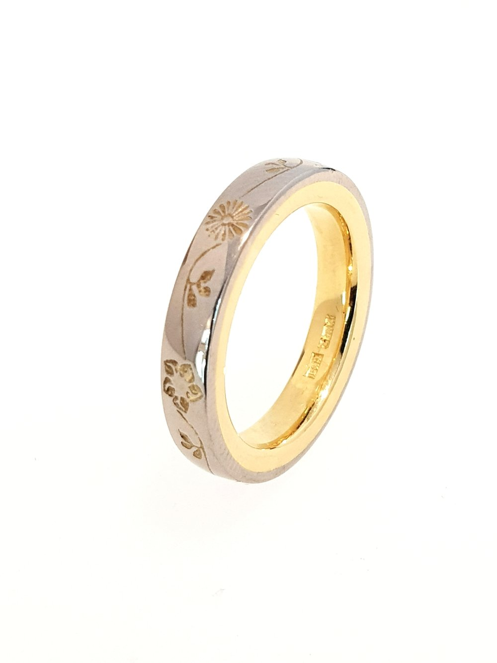 18ct White & Yellow Gold 4mm Band