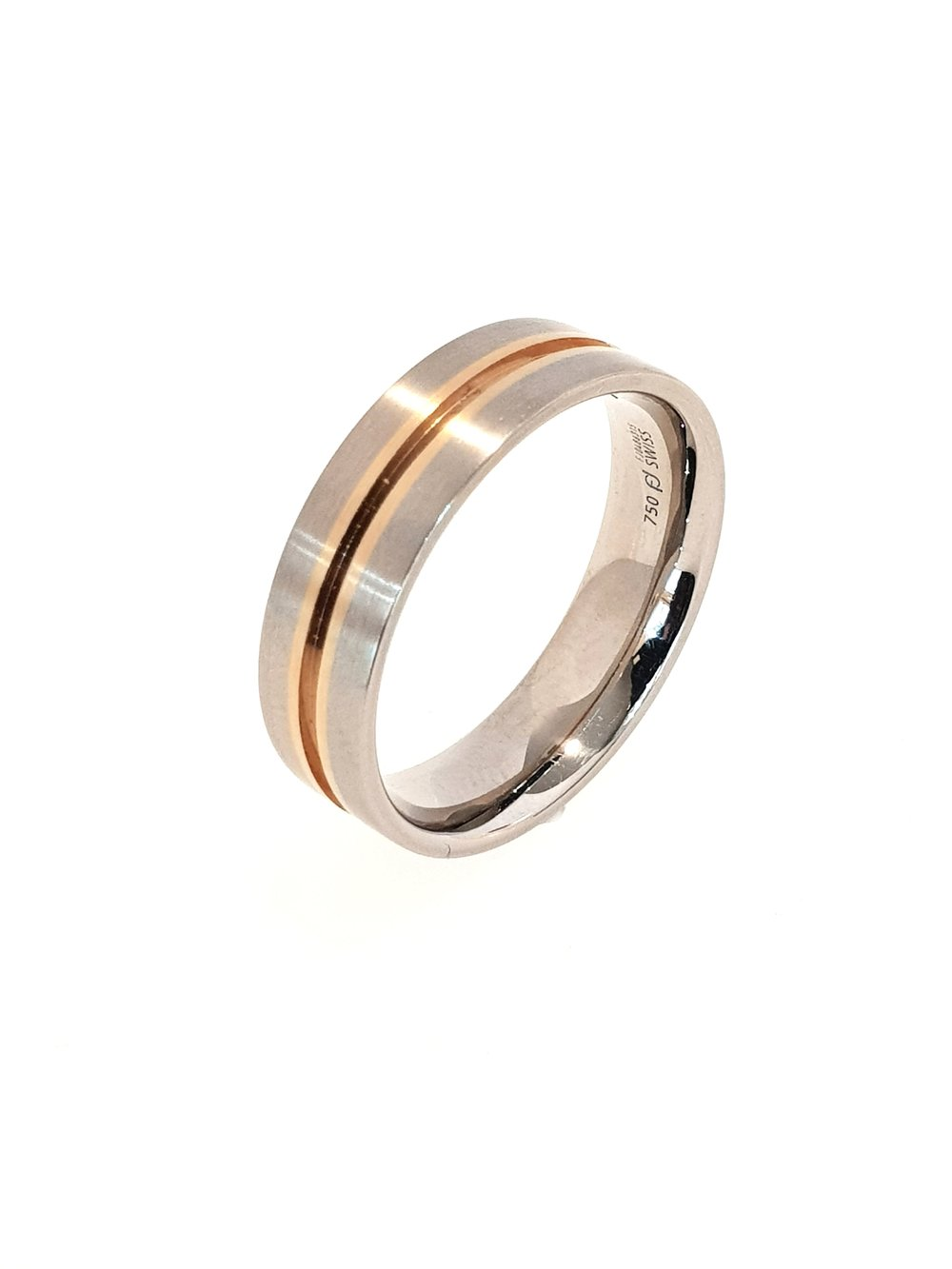 18ct White & Rose Gold Band