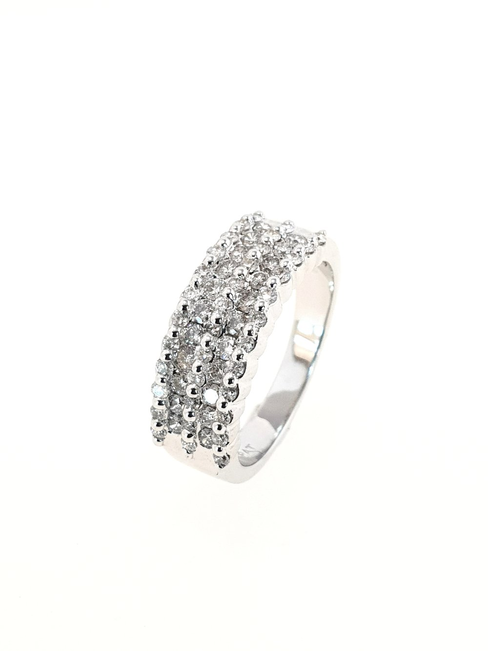 14ct White Gold 5 Row Band Ring  Diamond Weight: 1.00ct  Colour: H  Clairty: I1  Our Price: £1,500  Stock Code: Y774