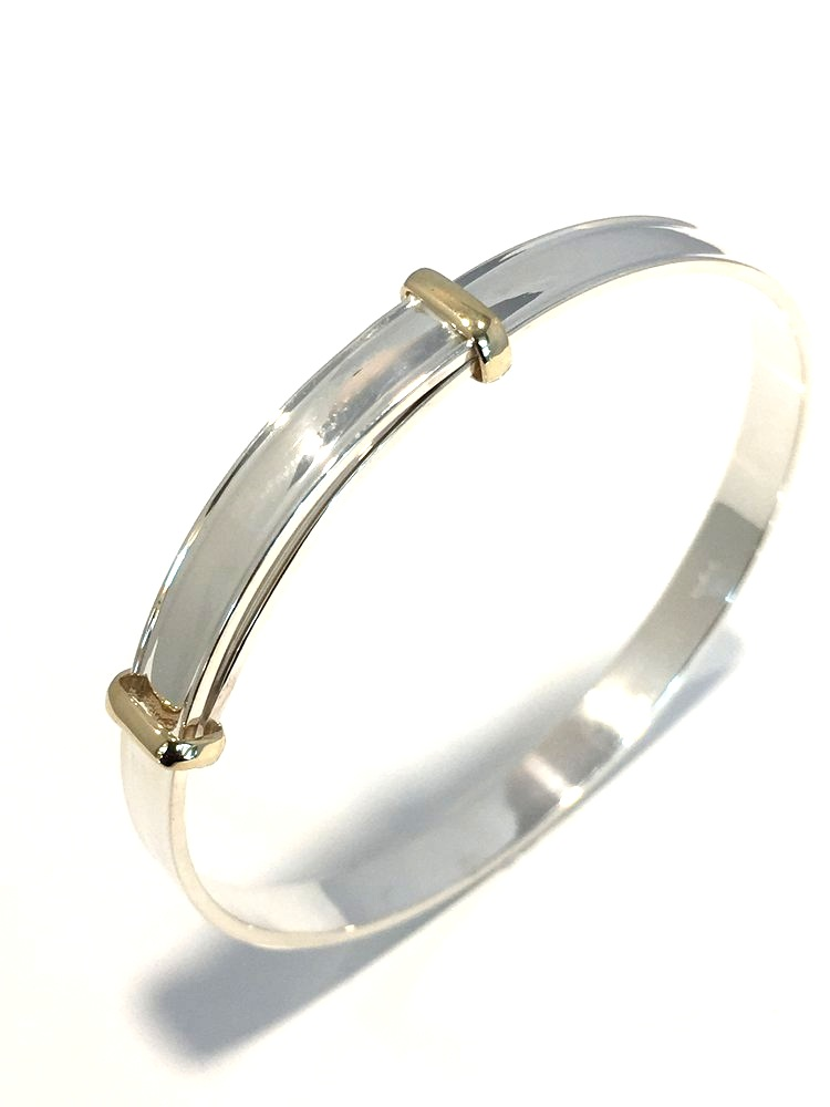 Silver & 9ct Gold Christening Expand Bangle