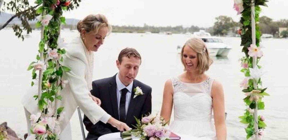 Wedding with Elopements Noosa, www.elopementsnoosa.com At Eli Park, Noosaville, on the Noosa River