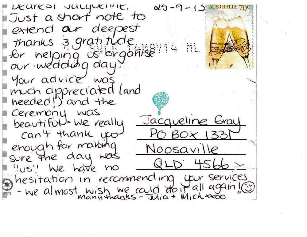 Jacqueline Gray Celebrant Testimonial