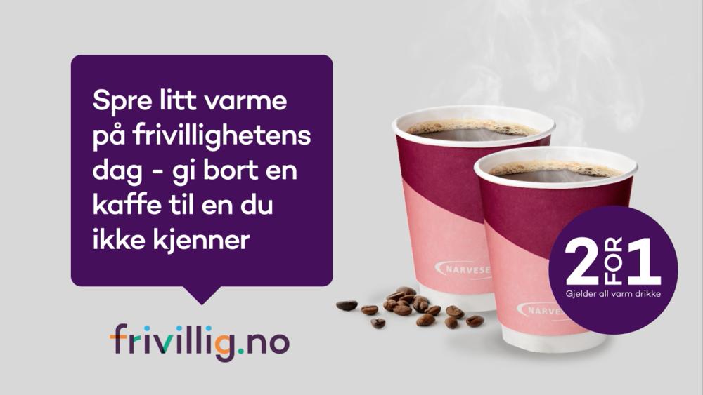 Spre varmen med kaffe fra Narvesen - På frivillighetsdagen 5.desember får du to kaffe til prisen av én på Narvesen. Gi den andre til en du ikke kjenner og ta en selfie sammen! #frivilliginnsats