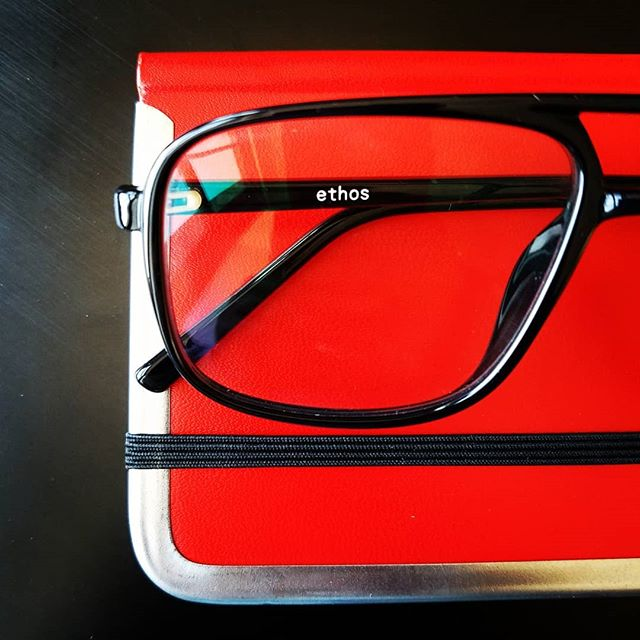 Ethos branded blue blockers.  Keeping eyes safe and blogs fresh since 2016.  #eyeprotection #eyeglasses #eyewear #branding #branded #blueblockers #writingsafely #keepingitfresh #marketing #red #contentmarketing #style #bloggerstyle #safetyfirst