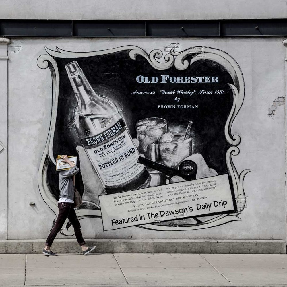 """Billboard featuring """"Old Forester"""" Kentucky Straight Bourbon Whisky"""
