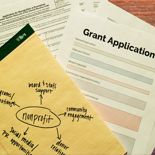 Nonprofit project flow change, grant application, and IRS 501(c)(3) form.