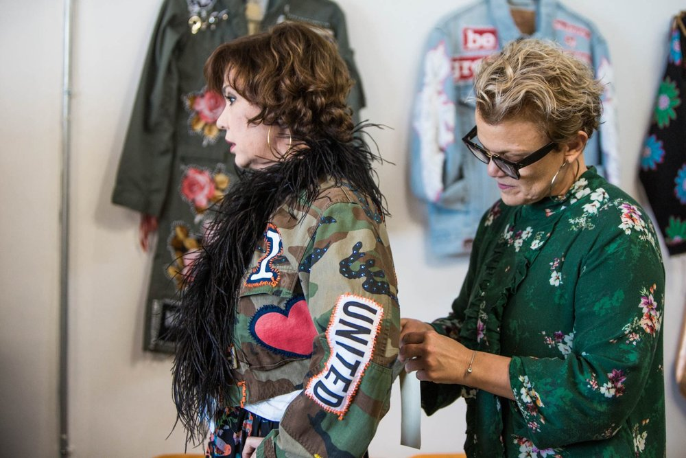 Claudia Gontovnik one of a kind fashion camo jacket with frills in Miami South Florida - recycled fashion