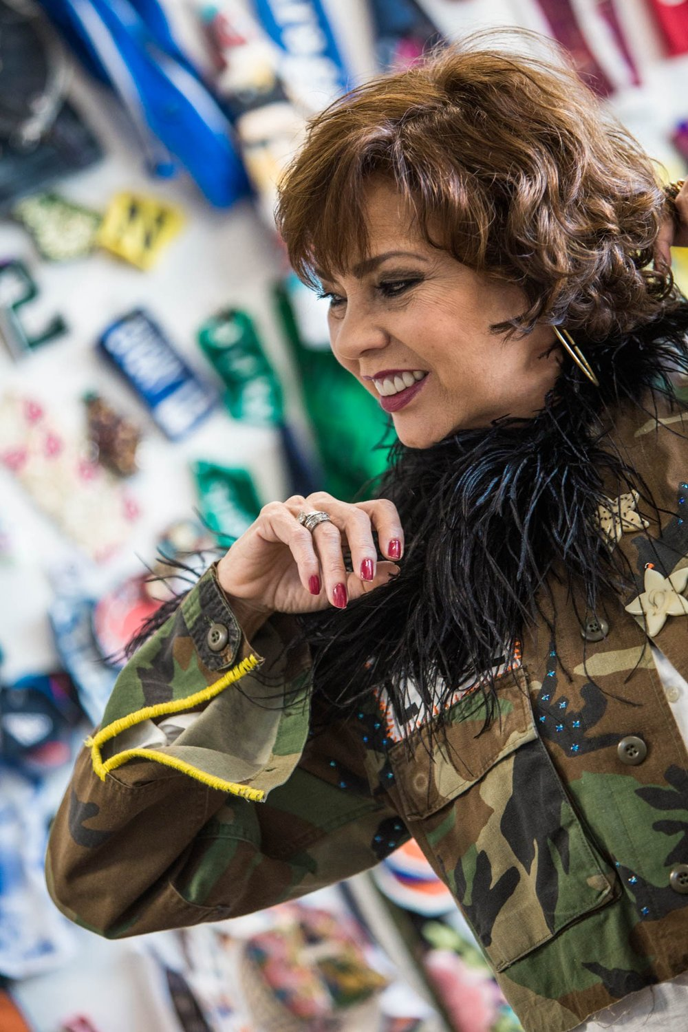 Claudia Gontovnik one of a kind fashion - recycled camo jacket in Miami, South Florida