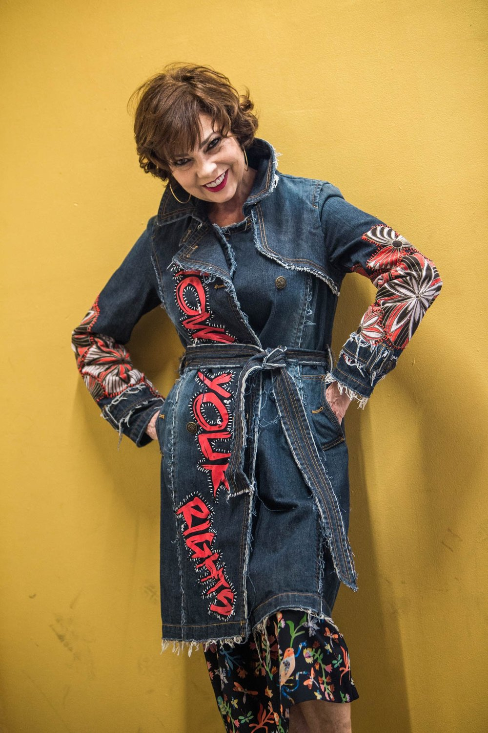 Claudia Gontovnik one of a kind recycled fashion - denim jacket with embellishments and embroidery made in Miami, South Florida