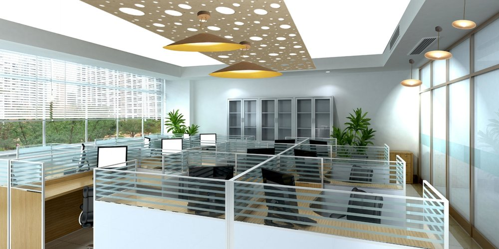 Ceiling design with holed panels and pendent lights, centre with large cone shades.