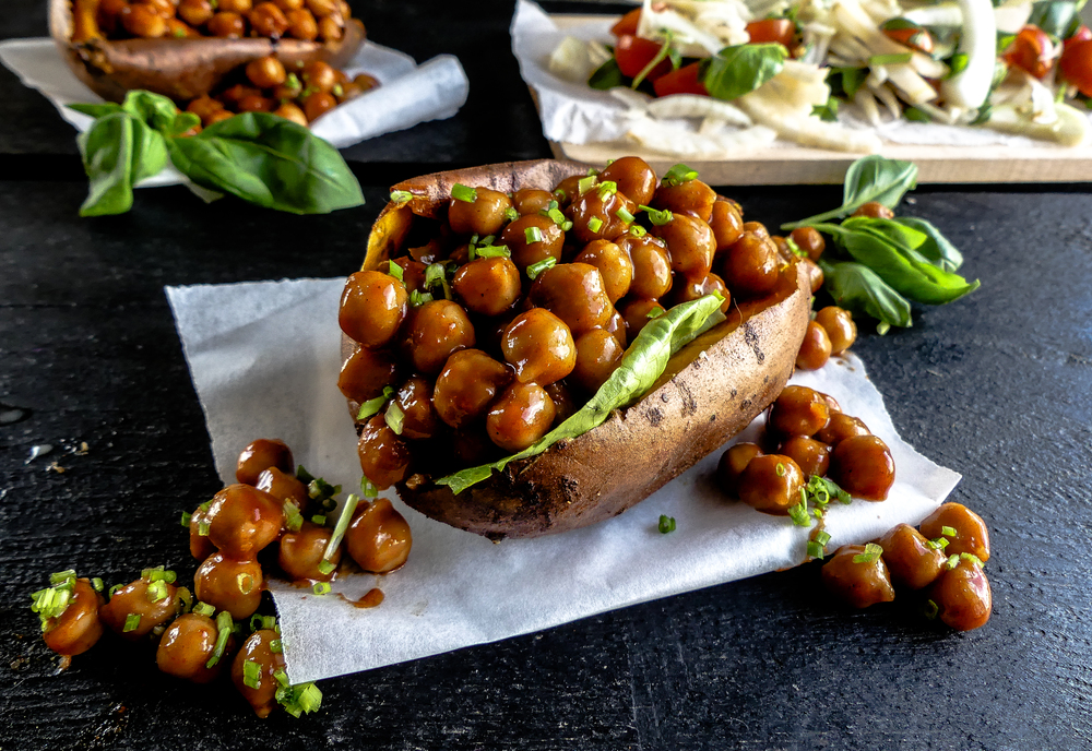 Filled Sweet Potato with BBQ Chickpeas!
