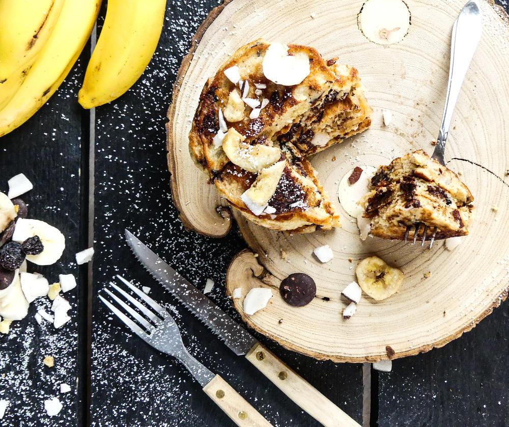 Choco Choco Banana Coconut Pancakes!