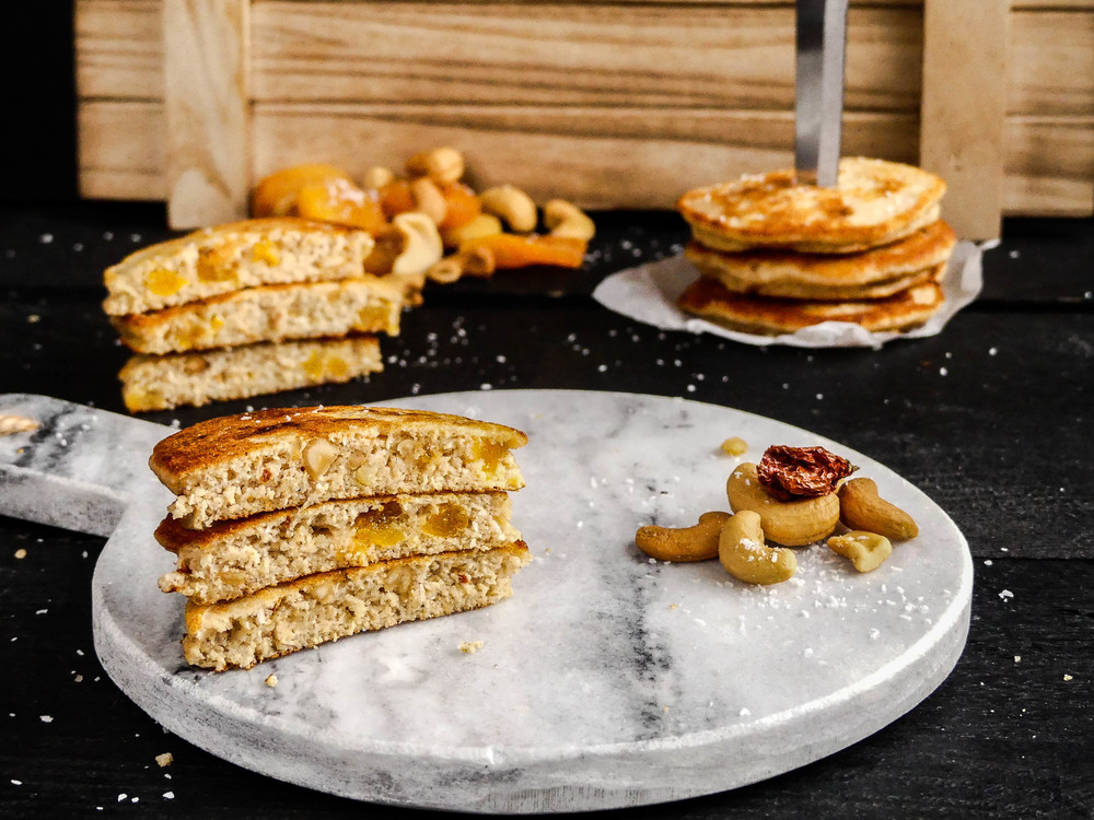 Spicy Cashew, Apricot & Coconut Pancakes
