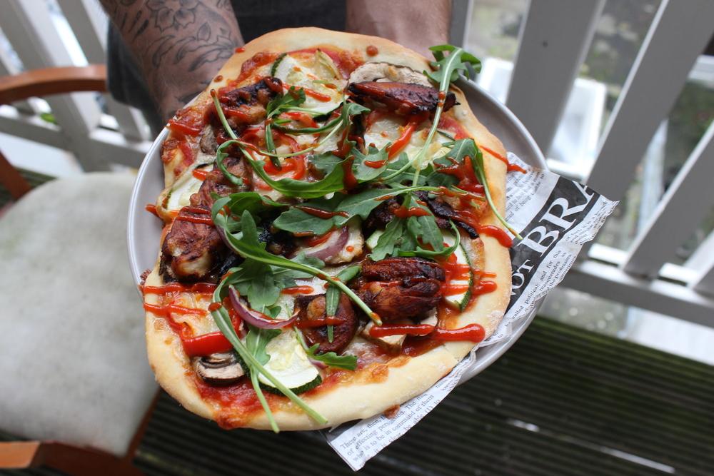Pittige makkelijk te maken BBQ kip pizza