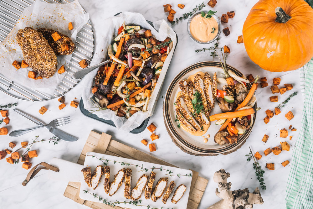 "Krokante (Quinoa) Kip, ""Smokey"" BBQ Paprika Mayonaise & Groente ovenschaal NOV 20175.jpg"