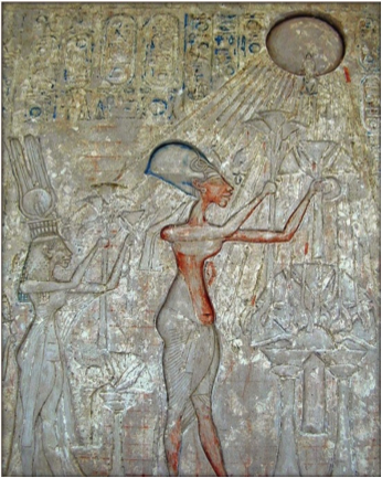 "Pharaoh Akhenaten and his family worshipping ""the One God"" Aten; painted on limestone and in the Egyptian Museum in Cairo, Egypt – Photo: Wikipedia"