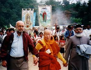 Marcus took this photograph of three other interfaith pioneers, Paul Knitter, Maha Ghosananda, and Irfan Khan, protesting a massacre in Acteal, Mexico.
