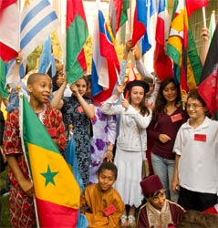 Children celebrate the International Day of Peace at the United Nations, 2007. Photo: Estizer Smith for the World Peace Prayer Society.