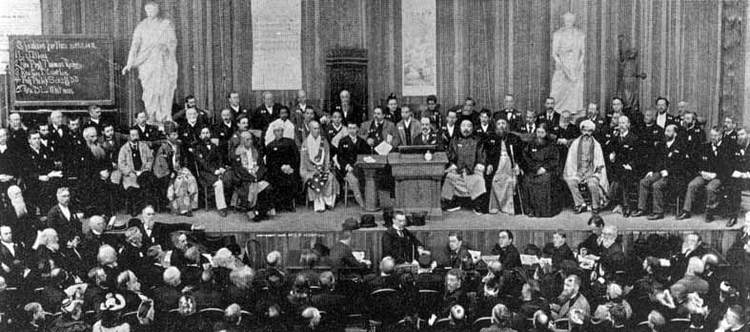 The assembled speakers at the 1893 World's Parliament of Religions.