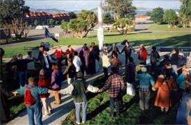 Today the greatest growth in interfaith activities is being organized locally, led by people who want to know their neighbors better, like this group at the Interfaith Center at the Presidio, in San Francisco, on January 1, 2000.