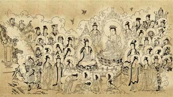 An assembly reciting the Avatamsaka Sutra