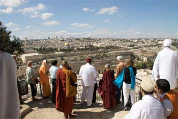 Elijah Interfaith Institute leaders looking across Jerusalem.