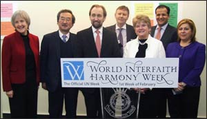 Interfaith activists at the U.N. promoting this year's World Interfaith Harmony Week Photo: UNAOC