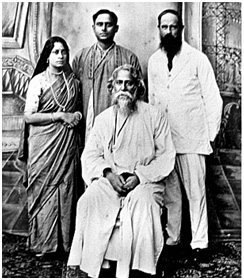 Andrews (right) with Rabindranath Tagore (seated), whose writing earned Asia its first Nobel Prize, and members of Tagore's family – Photo: frontline.in, The Hindu Archive
